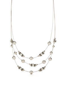 Kim Rogers Silver-Tone Metal Glam Illusion Necklace