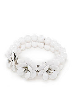 Kim Rogers Silver-Tone Fresh Blossoms Floral Stretch Bracelet