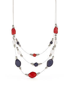 Kim Rogers Silver-Tone Patriotic Grace Illusion Necklace