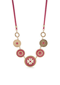 Kim Rogers Gold-Tone Blazin Pink Statement Necklace