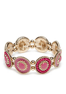 Kim Rogers Gold-Tone Blazin Pink Disc Stretch Bracelet