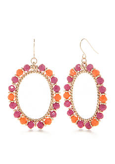 Kim Rogers Gold-Tone Blazin Pink Gypsy Hoop Earrings