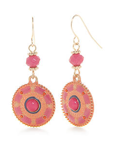 Kim Rogers Gold-Tone Blazin Pink Disc Drop Earrings