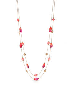 Kim Rogers Gold-Tone Blazin Pink Illusion Necklace
