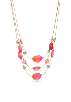 Kim Rogers Gold-Tone Blazin Pink Multistrand Necklace