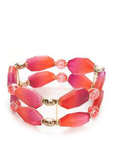 Kim Rogers Gold-Tone Blazin Pink Stretch Bracelet