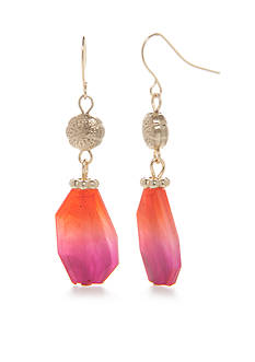 Kim Rogers Gold-Tone Blazing Pink Double Drop Earrings