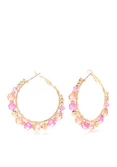 Kim Rogers Gold-Tone Blazin Pink Hoop Earrings