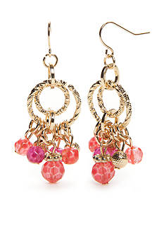 Kim Rogers Gold-Tone Blazin Pink Chandelier Earrings