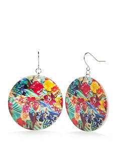 Kim Rogers Silver-Tone Paradiso Large Disc Drop Earrings