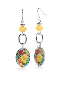 Kim Rogers Silver-Tone Tropical Paradise Triple Drop Earrings