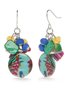 Kim Rogers Silver-Tone Paradiso Cluster Drop Earrings