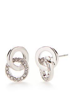 kate spade new york Silver-Tone Interlock Circle Stud Earrings