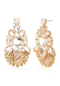 kate spade new york Gold-Tone Crystal and Pearl Drop Earrings