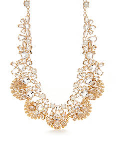 kate spade new york Gold-Tone Crystal and Pearl Statement Necklace