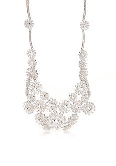 kate spade new york Silver-Tone Crystal Flowers Statement Necklace