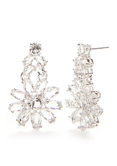 kate spade new york Silver-Tone Crystal Flower Drop Earrings