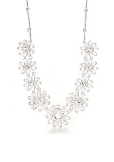 kate spade new york Silver-Tone Crystal Flower Frontal Necklace