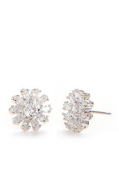 kate spade new york Silver-Tone Crystal Flower Stud Earrings