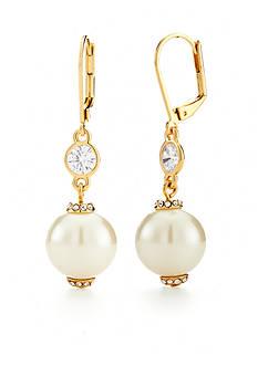 kate spade new york Gold-Tone Pearls of Wisdom Drop Earrings