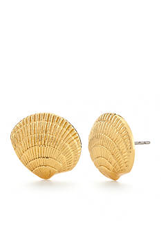 kate spade new york Gold-Tone Under the Sea Clam Shell Stud Earrings