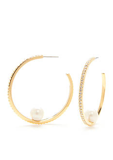 kate spade new york Gold-Tone Her Day To Shine Single Pearl Hoop Earrings