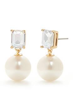 kate spade new york Gold-Tone Shine On Emerald Cut Drop Pearl Earrings