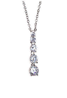 New Directions 5 Stone CZ Journey Pendant Necklace