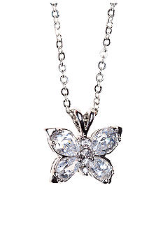 New Directions CZ Butterfly Pendant Necklace