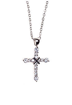 New Directions CZ Pave Cross Pendant Necklace