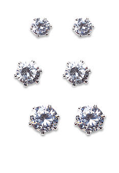 New Directions Round CZ and Silver Trio Earring Set