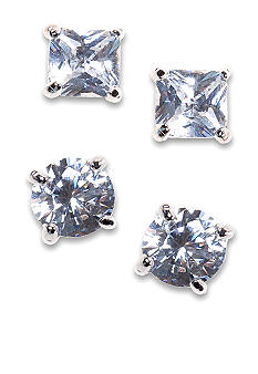 New Directions Square and Round Cubic Zirconia Duo Earring Set