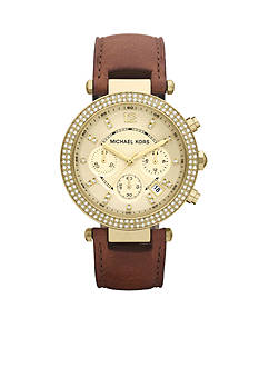 Michael Kors Mid-Size Gold Tone Stainless Steel & Brown Leather Parker Chronograph Glitz Watch