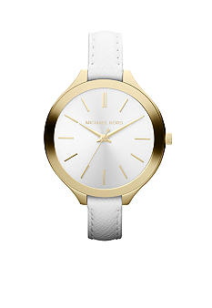 Michael Kors Mid-Size White Leather and Gold-Tone Stainless Steel Slim Runway Three-Hand Watch