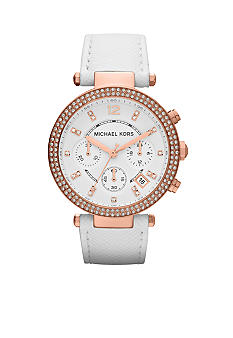 Michael Kors Mid-Size White Leather and Rose Gold-Tone Stainless Steel Parker Chronograph Glitz Watch