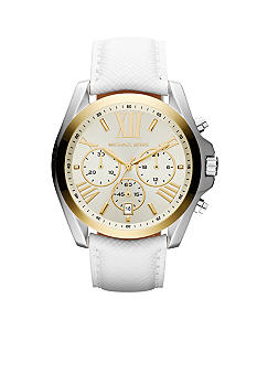 Michael Kors Mid-Size Silver-Tone and Gold-Tone Stainless Steel and White Leather Mercer Chronograph Watch