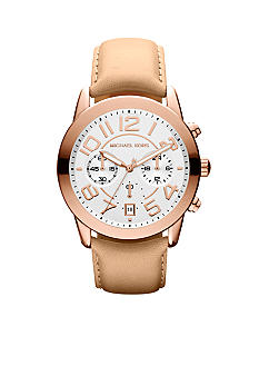 Michael Kors Mid-Size Vachetta Leather and Rose Gold-Tone Stainless Steel Mercer Chronograph Watch