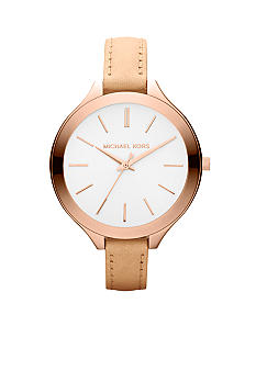 Michael Kors Mid-Size Vachetta Leather and Rose Gold-Tone Stainless Steel Slim Runway Three-Hand Watch