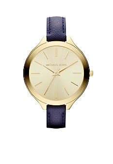 Michael Kors Ladies Gold-Tone Stainless Steel and Navy Leather Slim Runway Three-Hand Watch