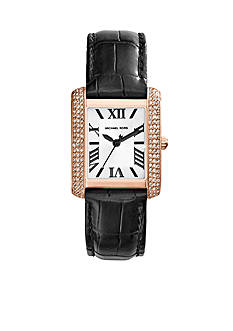 Michael Kors Petite Emery Rose Gold Tone and Black Croco Leather Three-Hand Watch