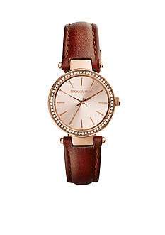 Michael Kors Rose Gold-Tone Dial and Chocolate Leather Band Petite Darci Watch