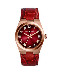 Michael Kors Crimson Dial and Croco Strap Channing Watch