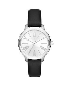 Michael Kors Women's Silver-Tone Hartman Black Leather Strap Watch