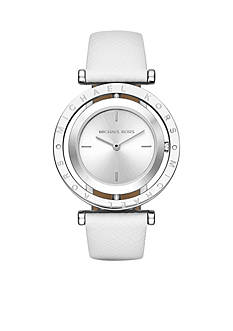 Michael Kors Women's Silver-Tone Averi White Leather Watch