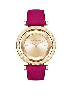 Michael Kors Women's Gold-Tone Averi Pink Leather Watch
