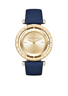 Michael Kors Women's Gold-Tone Averi Navy Leather Strap Watch