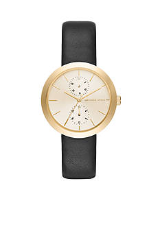 Michael Kors Women's Gold-Tone and Black Leather Garner Watch