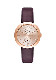 Michael Kors Women's Rose Gold-Tone and Plum Leather Garner Watch