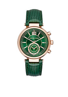 Michael Kors Rose Gold-Tone Green Sawyer Leather Watch