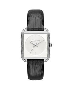 Michael Kors Women's Stainless-Steel and Black Leather Lake Watch